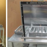 CUSTOM VACUUM DEGASSING WORK STATION, ALUMINUM AND ACRYLIC CUBE WITH COUNTERBALANCE LIFT SYSTEM