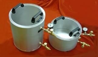 Vacuum degassing chambers manual transfer