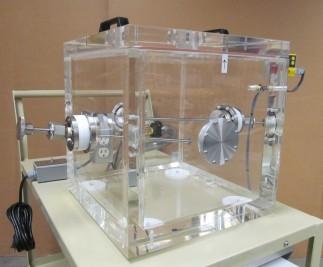 Custom designed clear acrylic cube Vacuum Chamber.
