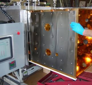 Fig 6: Thermal shroud being inserted into system, turning the standard vacuum chamber into a thermal vacuum chamber!