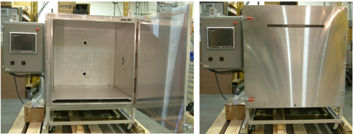 "Figure 2: Complex Altitude Test System (48"" Cube) with Thermal Plate, PC Touch Screen, and Mobile Cart: Open and Closed View"