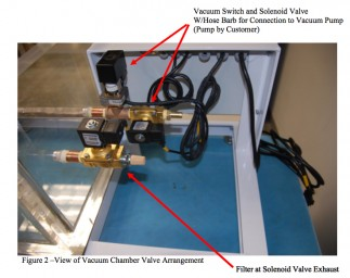 arrangement of valves on clear acrylic vacuum chamber with VCC system