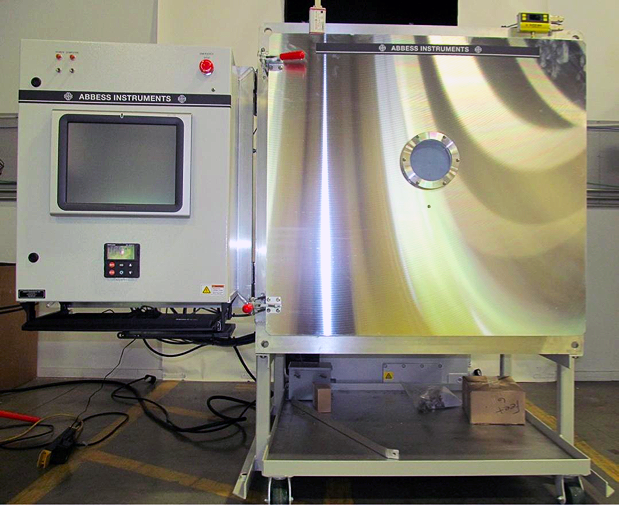 Front view of full vacuum chamber system with touch screen controls