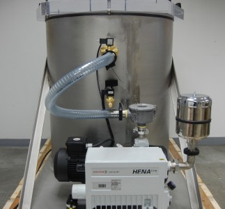 Back view of stainless steel 55 gallon drum vacuum chamber for degassing.