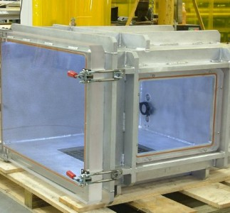 With in chamber LED lights and large viewing ports this large chamber allowed full view of the article under vacuum.