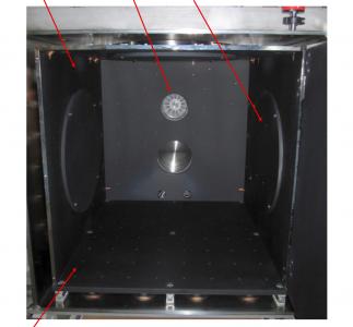 Aeroglaze interior coating of satellite testing vacuum chamber