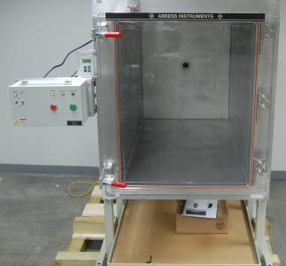 This large vacuum chamber  was built to customer specifications to fit their end use.