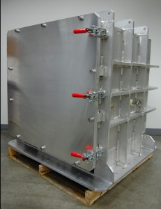 """Aluminum 36"""" cube built to be bolted onto a shaker table in order to test products and components shipping characteristics and durability."""