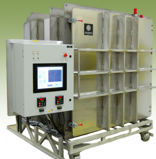 Large aluminum space simulation chamber with touch screen control of vacuum and temperature.